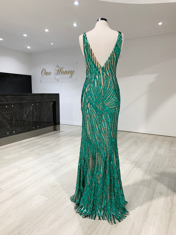 Honey Couture YASMIN Emerald Green Sequin Formal Gown {vendor} AfterPay Humm ZipPay LayBuy Sezzle