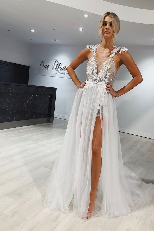 Honey Couture SOPHIA White Tulle Glitter Bodysuit Formal Dress Honey Couture Custom$ AfterPay Humm ZipPay LayBuy Sezzle