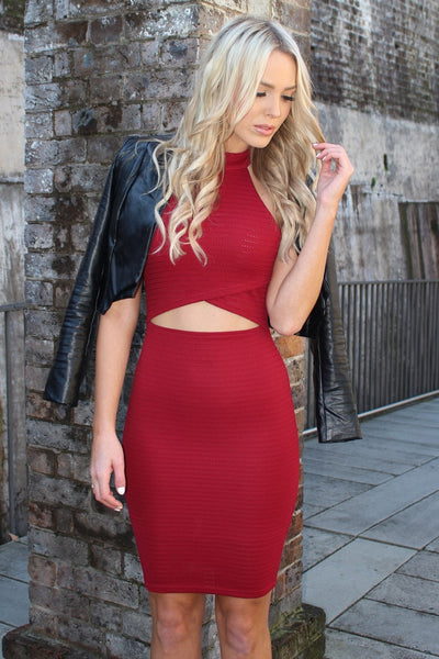 Passion Fusion Sydney Girl Maroon Cut Out Bodycon Dress , Dress Passion Fusion, One Honey Boutique  Australian Online Store - 1