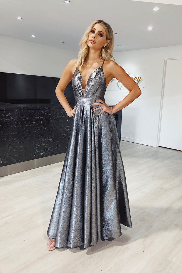 Honey Couture TAZMIN Gunmetal Metallic Silver Formal Gown Private Label$ AfterPay Humm ZipPay LayBuy Sezzle