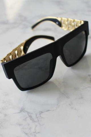 Honey Couture KHLOE Black & Gold Chain Sunglasses