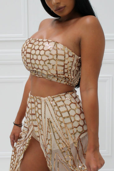 Honey Couture MIKA Gold Sequin Crop & Maxi Skirt SetHoney CoutureOne Honey Boutique AfterPay OxiPay ZipPay