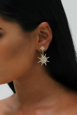 Honey Couture Gold Starburst Diamante Drop Earrings
