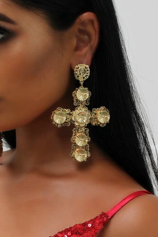 Honey Couture Gold Oversized Cross Statement Earrings