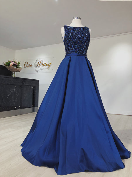 MONICE Royal Blue Beaded Ball Gown Formal Dress