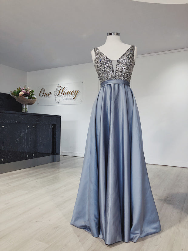 Honey Couture BROYN Silver Diamante Front Princess Ball Formal Gown Dress Honey Couture Custom$ AfterPay Humm ZipPay LayBuy Sezzle