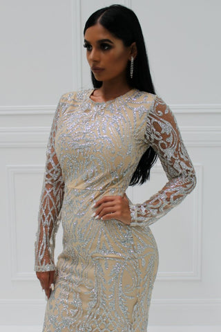 Honey Couture LOLA Gold Sheer Glitter Long Sleeve Gown Dress Honey Couture One Honey Boutique AfterPay ZipPay OxiPay Sezzle Free Shipping