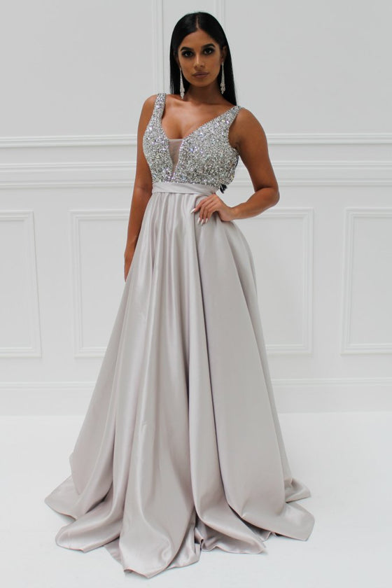 Honey Couture BROYN Silver Diamante Front Princess Ball Formal Gown DressHoney Couture CustomOne Honey Boutique AfterPay OxiPay ZipPay