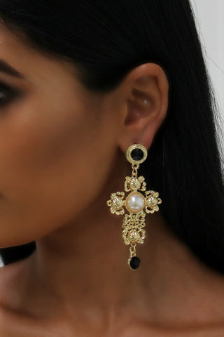 Honey Couture Gold Oversized Cross & Diamante Pearl Earrings