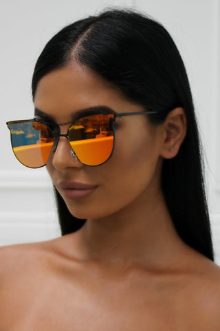 Honey Couture ALANNA Black & Orange Mirror Lense Sunglasses