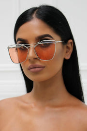 Honey Couture SHERIE Silver Frame & Orange Lense Sunglasses Honey Couture Sunglasses$ AfterPay Humm ZipPay LayBuy Sezzle