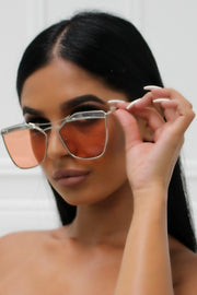 Honey Couture SHERIE Silver Frame & Orange Lense Sunglasses Honey Couture One Honey Boutique AfterPay ZipPay OxiPay Sezzle Free Shipping