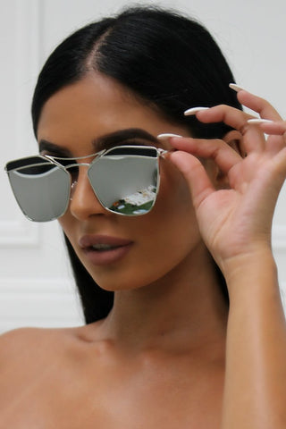 Honey Couture SHERIE Silver Frame & Silver Lense Sunglasses