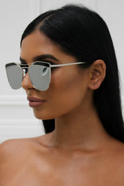Honey Couture SHERIE Silver Frame & Silver Lense Sunglasses Honey Couture One Honey Boutique AfterPay ZipPay OxiPay Sezzle Free Shipping