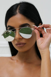 Honey Couture AMY Silver on Silver Mirror Lense Aviator Sunglasses Honey Couture One Honey Boutique AfterPay ZipPay OxiPay Laybuy Sezzle Free Shipping