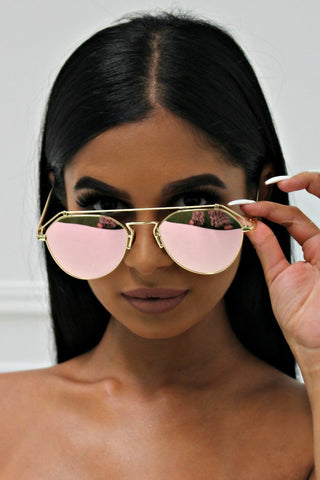 Honey Couture AMY Gold w Pink Lense Aviator Sunglasses