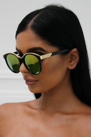 Honey Couture KRIS Black & Gold Frame Orange Reflective Sunglasses Honey Couture One Honey Boutique AfterPay ZipPay OxiPay Laybuy Sezzle Free Shipping