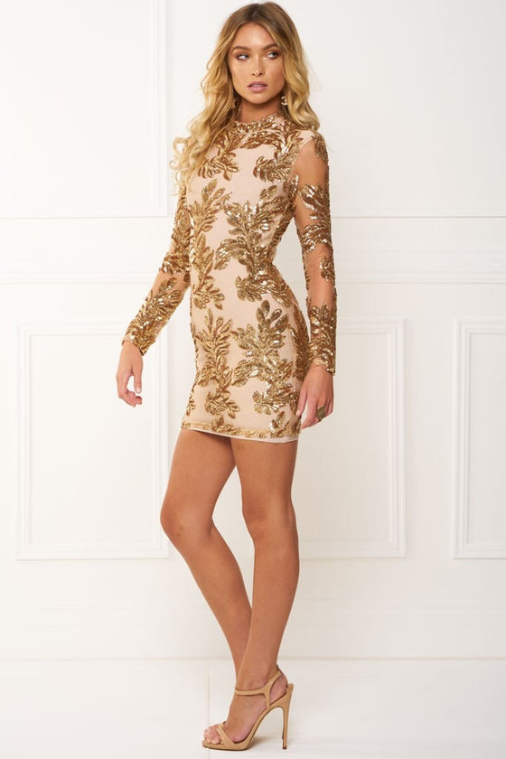 48643b5e2a Honey Couture IRENE Rose Gold Long Sleeve Mesh Sequin Midi Dress Honey  Couture One Honey Boutique