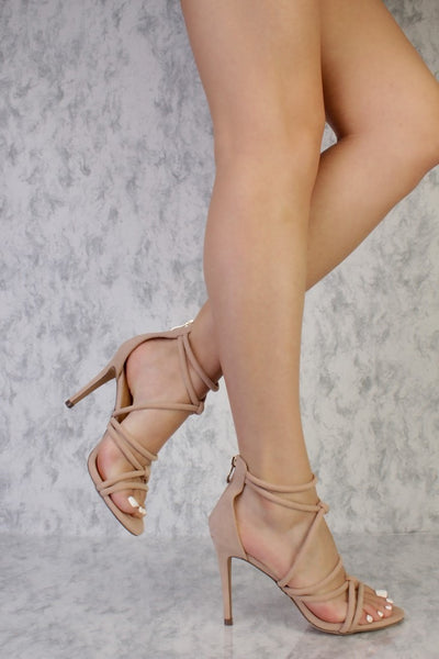 Honey Couture MAISIE Nude Faux Suede Strappy Heels Australian Online Store One Honey Boutique AfterPay ZipPay