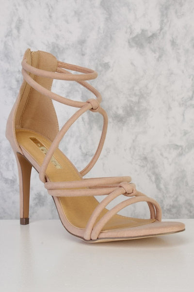 Honey Couture MAISIE Nude Faux Suede Strappy Heels