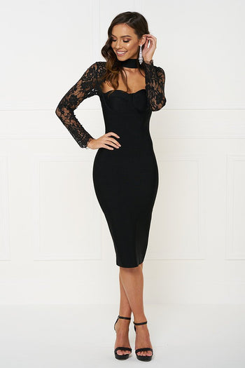 Honey Couture ANTHEA Black Lace Long Sleeve Dress