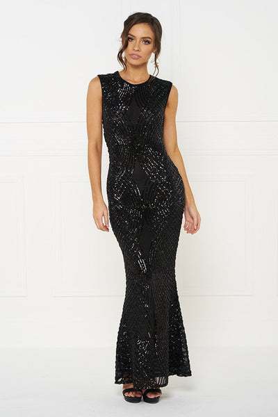 Honey Couture DELILAH Black Sequin Evening Gown Dress