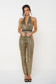Honey Couture ANICE Black Gold Sequin Halter Jumpsuit Honey Couture$ AfterPay Humm ZipPay LayBuy Sezzle
