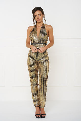 Honey Couture ANICE Black Gold Sequin Halter Jumpsuit Honey Couture One Honey Boutique AfterPay ZipPay OxiPay Sezzle Free Shipping