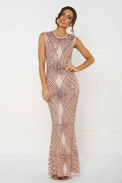 Honey Couture DELILAH Rose Gold Sequin Evening Gown Dress