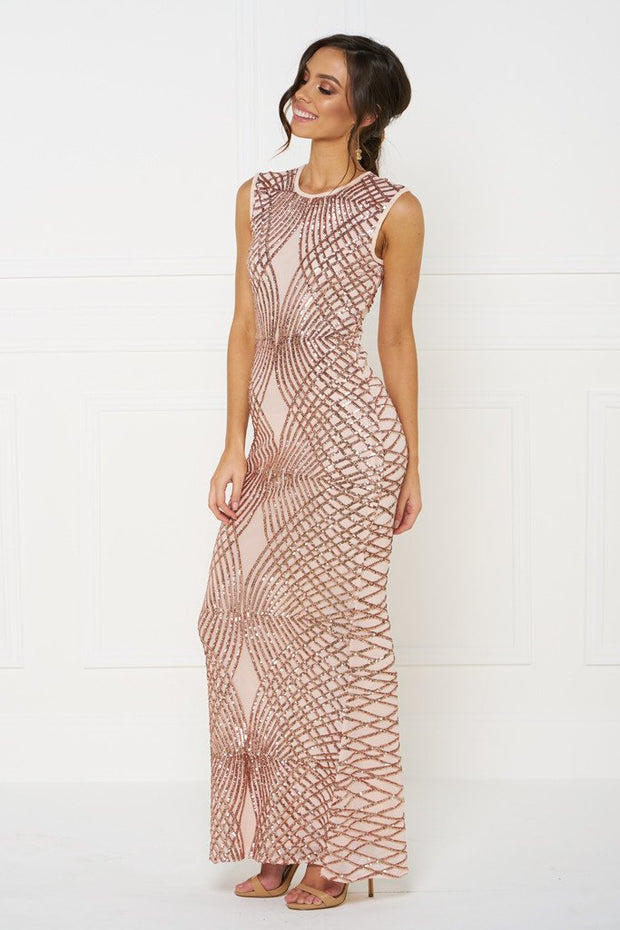Honey Couture DELILAH Rose Gold Sequin Evening Gown Dress Honey Couture$ AfterPay Humm ZipPay LayBuy Sezzle