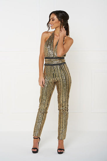 Honey Couture ANICE Black Gold Sequin Halter JumpsuitHoney CoutureOne Honey Boutique AfterPay OxiPay ZipPay