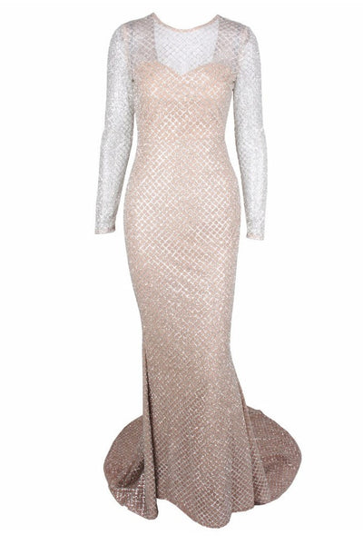 Honey Couture SABINE Silver Glitter Nude Formal Gown Dress