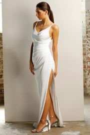 Jadore JX1027 Ivory White Gather Front Split Formal Dress