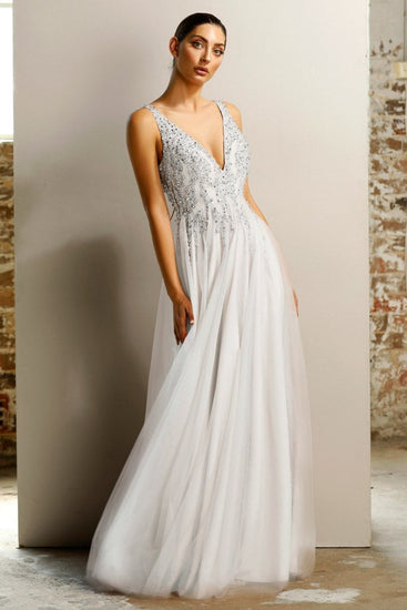 Jadore JX1077 White Crystal Tulle Formal DressJadoreOne Honey Boutique AfterPay OxiPay ZipPay