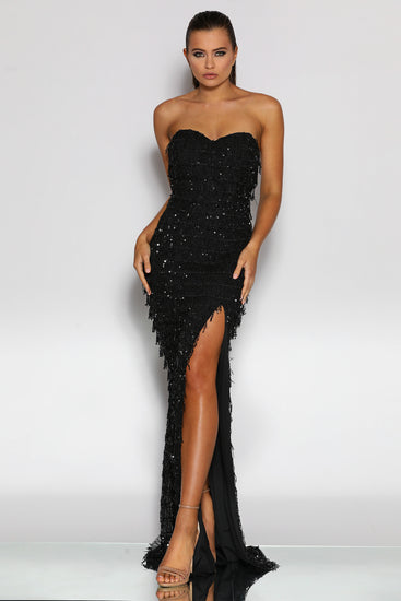 Jadore JX2033 Strapless Black Fringing Tassel Sequin Formal Dress