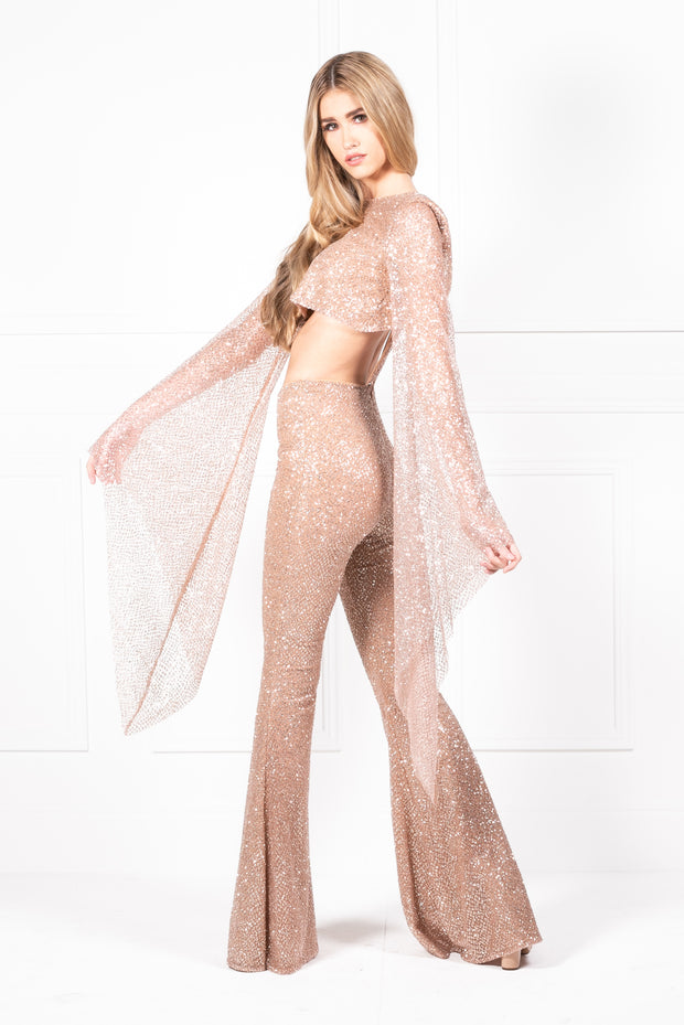 Honey Couture KIRRA Gold Crystal Detail Flared Jumpsuit Honey Couture$ AfterPay Humm ZipPay LayBuy Sezzle