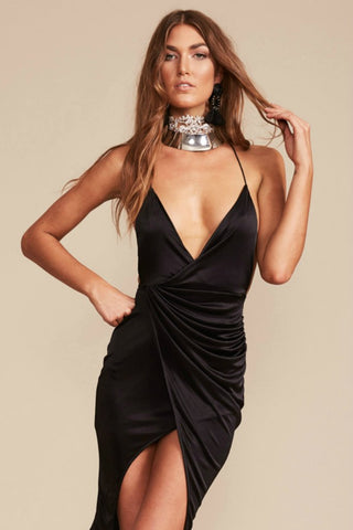 LIONESS Designer CARRIE Black Thin Strap Wrap Dress Lioness One Honey Boutique AfterPay ZipPay OxiPay Sezzle Free Shipping