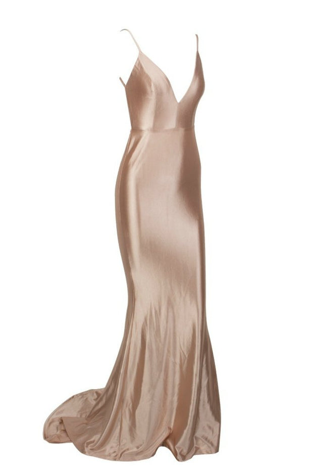 Honey Couture MILEE Gold Low Back Mermaid Evening Gown Dress Honey Couture$ AfterPay Humm ZipPay LayBuy Sezzle