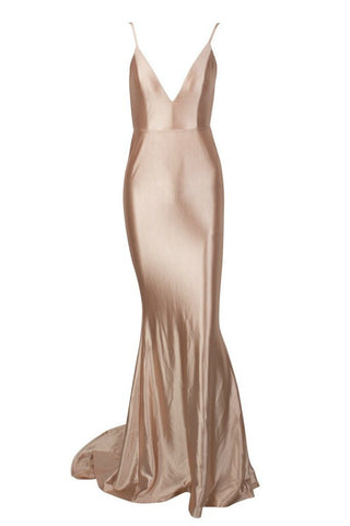 Honey Couture MILEE Gold Low Back Mermaid Evening Gown Dress