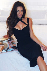 Honey Couture NINA Black Halter Bustier Bandage Dress