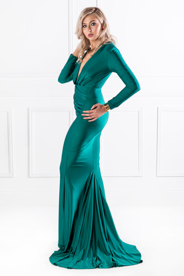 Honey Couture NAOMI Emerald Green Long Sleeve Formal Gown Dress