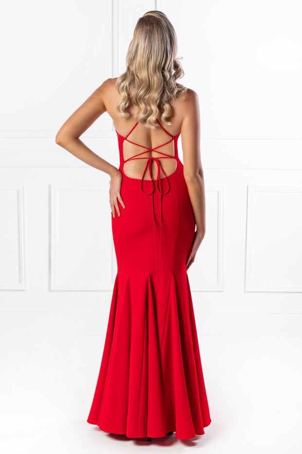 The SANCHA Red Low Back Lace Up Mermaid Evening Gown Dress {vendor} AfterPay Humm ZipPay LayBuy Sezzle
