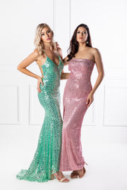 Honey Couture LEE Pink Sequin Strapless Formal Dress {vendor} AfterPay Humm ZipPay LayBuy Sezzle