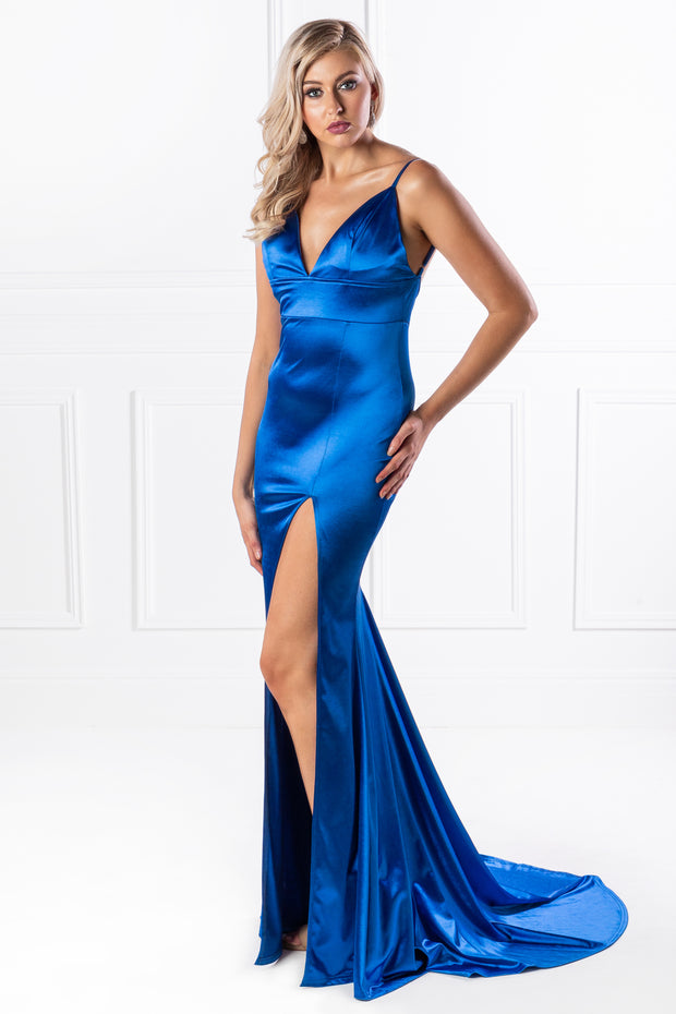 Honey Couture AISHA Blue Low Back Mermaid Evening Gown Dress {vendor} AfterPay Humm ZipPay LayBuy Sezzle