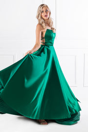 SHERRI Emerald Green Lace Up Back Satin Formal Gown {vendor} AfterPay Humm ZipPay LayBuy Sezzle