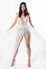 Honey Couture SOPHIA White Tulle Glitter Bodysuit Formal Dress