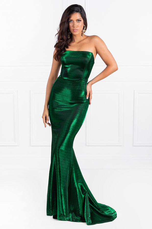 Honey Couture TOPAZ Emerald Green Strapless Mermaid Formal Gown {vendor} AfterPay Humm ZipPay LayBuy Sezzle