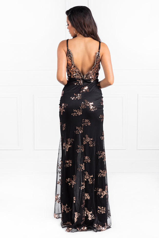 Honey Couture HIVE Black & Rose Gold Sequin Formal Gown