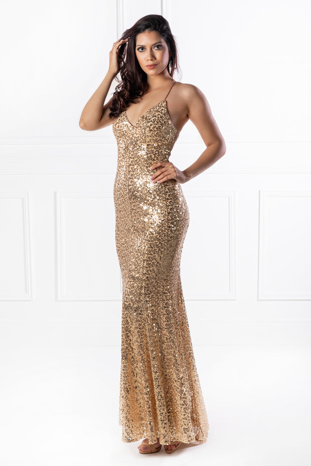 The NIKEETA Gold Sequin Corset Back Mermaid Formal Gown {vendor} AfterPay Humm ZipPay LayBuy Sezzle