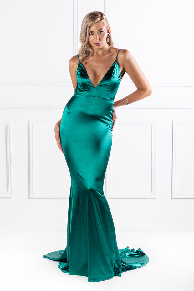 Honey Couture MILEE Emerald Green Low Back Mermaid Evening Gown Dress {vendor} AfterPay Humm ZipPay LayBuy Sezzle